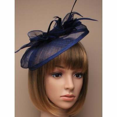 Navy blue fascinator hessian with petals and feather tendrils (beak clip)