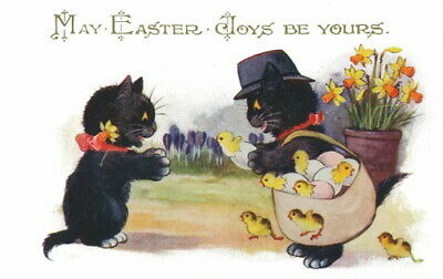 1920s Comique French Easter~Lucky Black Cat Gives Chick to Kitten~NEW Note Cards