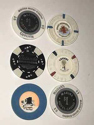 Mixed Lot O5 Las Vegas Hotel Casino Poker Chips HARRAHS HARLEY CAESARS MARINA