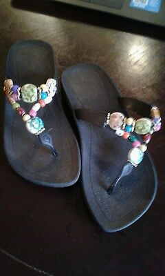 99d2fff7fc53a Grandco Colored Jeweled Stone Thong Flip Flop Sandals Women 7 Black Bottom
