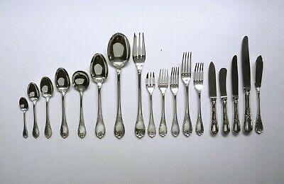 "CHRISTOFLE France 'MARLY"" 100 Piece CUTLERY SET For 6. Silver Plate Flatware"