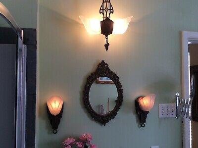 Art Deco Chandelier 2 Slip Shades & 2 Sconces W Slip Shades In Glass