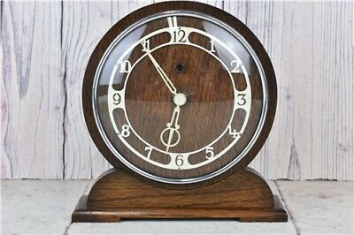 Vintage Temco Electric  Dark Wooden Mantel Clock  Untested Lead Not Included