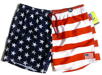 d0152f8f5a05b Exist Mens XXL 2XL Red White Blue USA Flag Lined Swim Trunks Shorts NWT  Flaws