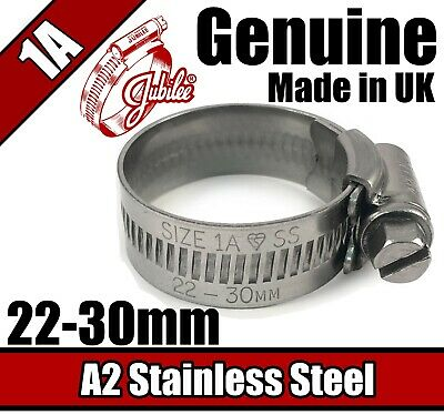 Genuine Jubilee Stainless Steel Clips Hose Pipe Clamp Worm Drive 22mm - 30mm 1A