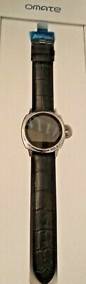 "Omate Roma Smartwatch Men's 10"" Black Leather Band Not Used"