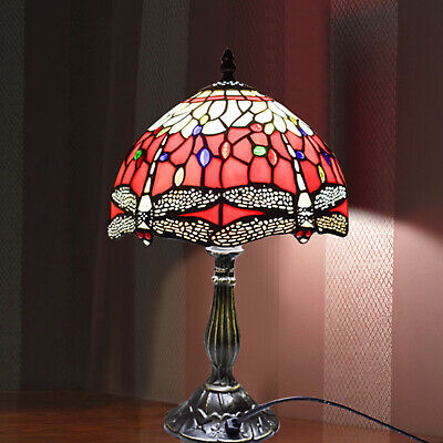 Dragonfly TIFFANY Style Stained Glass Antique Base Table Lamp with Zinc Base UK