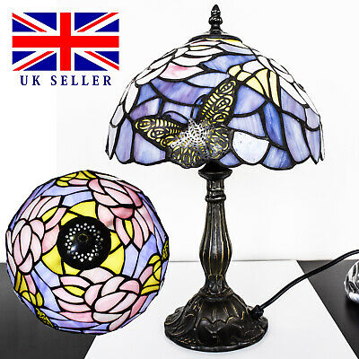 Antique Butterfly TIFFANY Style Table/Decorative Multi Colour Base Table Lamp UK