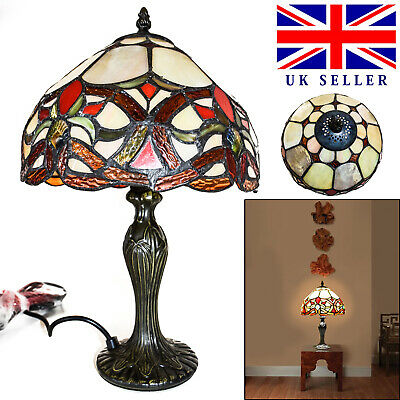 TIFFANY Style Antique Stained Glass Lamp Table Desk Bedside Home Decoration UK