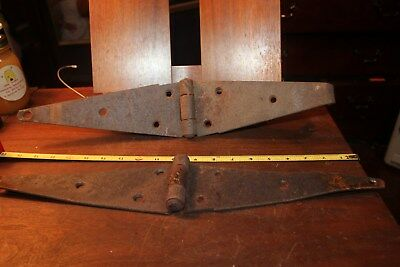 """Pair Antique 20"""" Rusty Primitive Iron Strap Barn Door Shed Hinges Hardware"""
