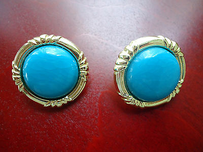 Vtg Antique Pair Of Pierced Earrings Turquoise Color Gold Plate             87E.