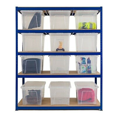 Economy Shelving Unit 1800mm H x 1500mm W x 600mm D 12 of 60Ltr Clear Boxes