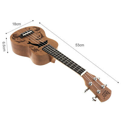 Full Set 21 Inch Soprano Ukulele Wooden Ukelele with Bag Tuner Capo String Strap