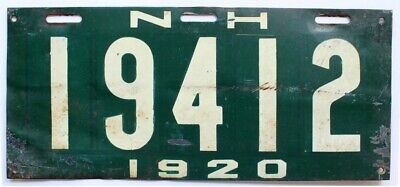 New Hampshire 1920 License Plate, 19412, Antique, Garage Sign