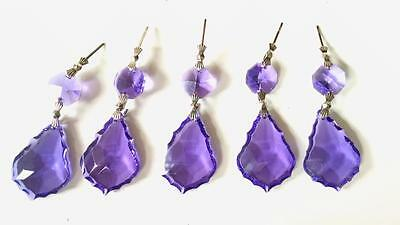 10 Violet Purple 38mm French Cut Chandelier Crystals, Lead Crystal Ornaments
