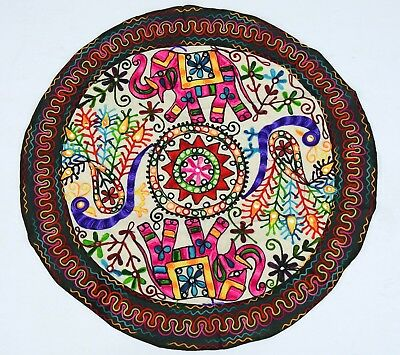 """Cotton round table cover runner cloth throw Wall Hanging hand embroidered 36"""""""