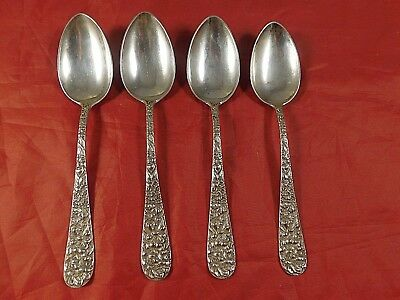 LOT of 4 VINTAGE STIEFF ROSE REPOUSSE STERLING SILVER TEASPOONS