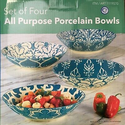 "Certified International 9"" Aqua Porcelain Baroque Soup or Serving Bowls Set of 4"