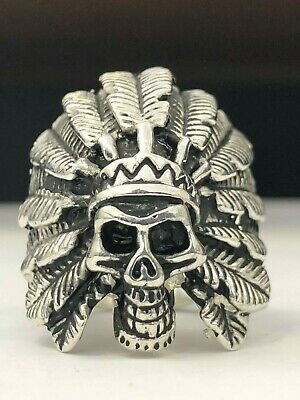 925 Sterling Silver Indian Head Ring ! New ! Large Skull Chief Solid 30G Any Sz