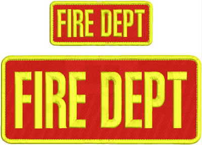EMT EMBROIDERY PATCH  4X10 AND 2X5 HOOK  ON BACK  RED//WHITE FIRE