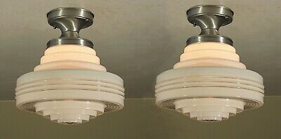 AMAZING! Pair of Antique Vintage Skyscraper UFO Spaceage Light Fixtures RESTORED