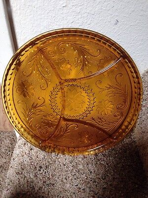 Antique Fall Color Amber Glass Intricate Flower Pattern Snack Plate