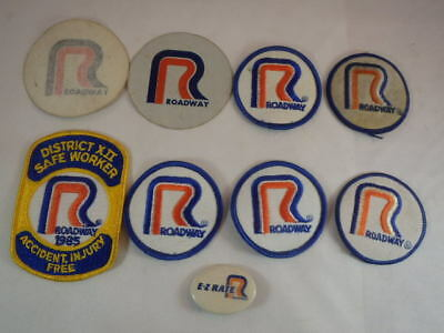Lot of Vintage Roadway Express Trucking Patches Stickers & Pin/Button