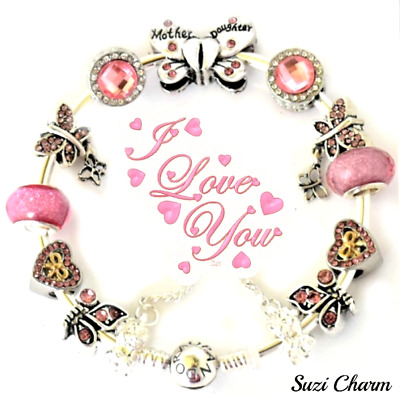 Pandora Bracelet Silver MOM DAUGHTER Butterfly Pink LOVE European Charms New