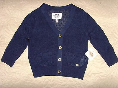 New Juicy Couture Kids Girls Polka Dot Knit Cardigan Navy Blue Sweater M