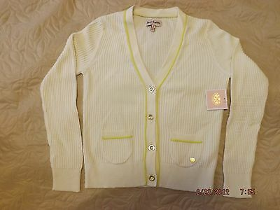 New Juicy Couture Kids Girls Knit Cardigan Ivory Sweater Size 10