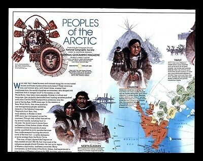 """Vintage 1983 """"Peoples of The Arctic"""" National Geographic Cultural Study & Map"""