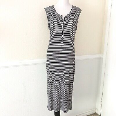 8d2a3bad Old Navy Womens Sleeveless Maxi Dress Size MEDIUM Striped Black & White Midi