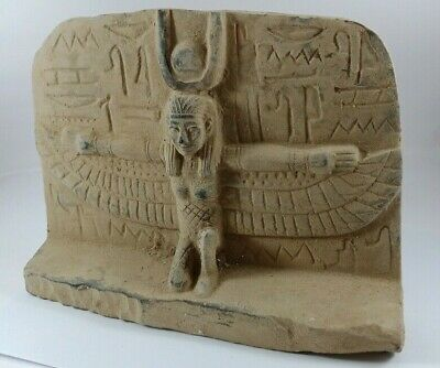 Rare Egyptian Isis Statue Goddess Wings Figurine Winged Ancient Kneeling Large