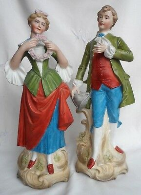 """Antique PAIR 11"""" BISQUE FIGURES Georgian style LADY & GENT courting couple c1900"""