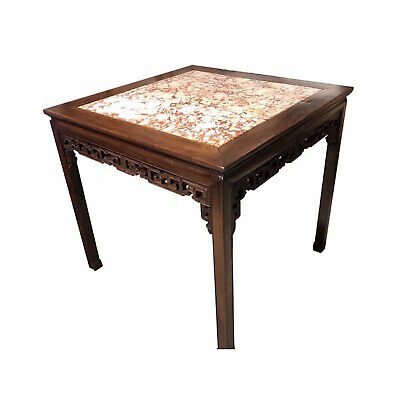 Chinese Carved Hongmu And Marble Square Table 19th Century