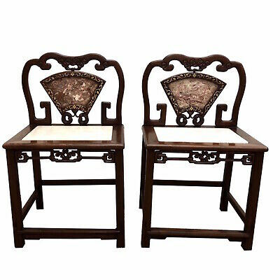 Pair Chinese Hongmu Low Back Chairs With Inset Marble And Brass Inlay
