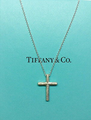 3c3dba97f Tiffany & Co. Sterling Silver Hammered Cross 18 Inch Pendant Necklace New