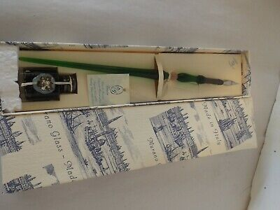 NIB Vintage Murano Glass Hand-Blown Ink Pen with Ink Bottle in Original Box