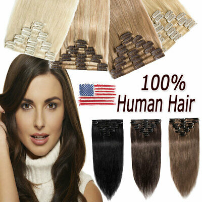 US Stock Clip In 100% Remy Human Hair Extensions Thick Full Head Brown 8PCS W117