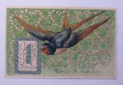 """"""" New Year,Bird,Schwalbe,Calendar,Heart,Lily of the Valley """" 1908,Gold Print"""