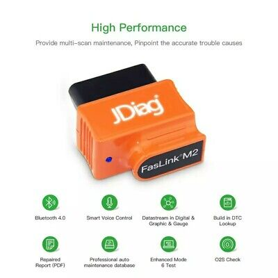 JDiag Faslink M2 BlueDriver Bluetooth Professional OBD2 Scan Tool iOS Android