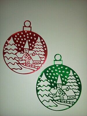 6 x Christmas Bauble card toppers, paper craft, die cut.