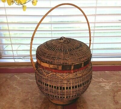 "Vintage Asian Japan Rare Folk Art bamboo hand woven basket with lid 16.5""~EVC"