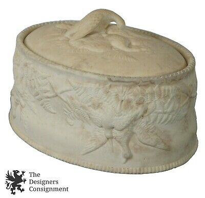 11.5'' Antique 19th C Wedgwood Caneware Lidded Pie Dish Game Bird Tureen w Liner