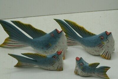 4 Colorful Hand-Painted Tropical Fish Wood Sculptures Beach / Nautical Decor