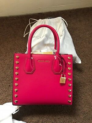 a09b312528e5 Michael Kors Mercer Medium Messenger Leather Hearts Studded Bag Ultra Pink