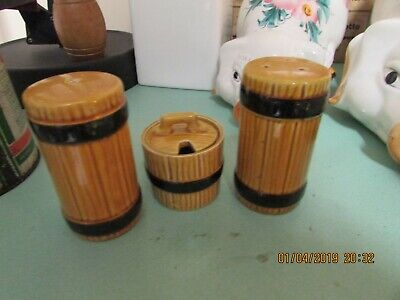 VintageRetro Ceramic Salt,Pepper ,Mustard Wooden Barrel Design by Secla Portugal