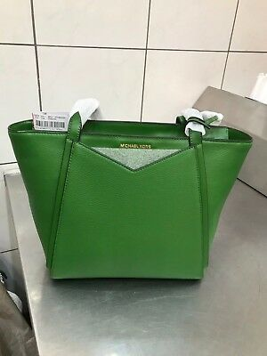 57890d9c0be5 NWT New Tag $248 MK MICHAEL KORS Whitney Small Top-Zip Tote True Green  handbag