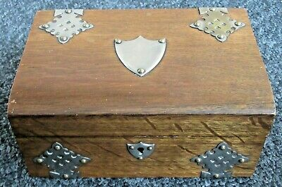 Sale ! Antique Vintage Oak Large Trinket Box Arts And Crafts With Vacant Shield