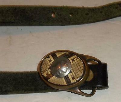 Vintage Western Style Leather Belt and Brass Buckle  Buffalo Indian Head Nickel